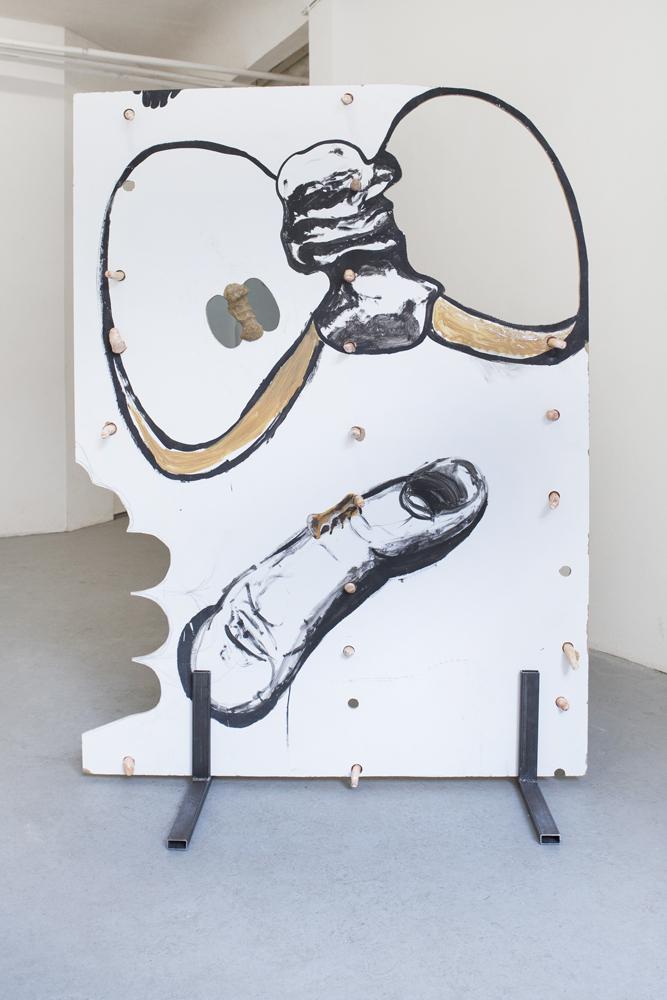 Barré, 2017, MDF, Acrylfarbe, Gips, Aquarell, Lack, Holz, Kunststoff (Foto: Yeonho Jang), 157x 115x 61cm