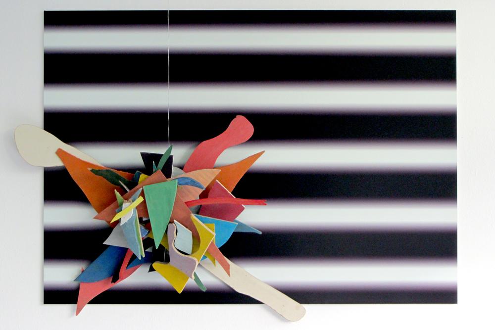 Bröckelvision, 2014, Digitaldruck, Spanplatte, Acrylfarbe, Draht, 140cm x 90cm