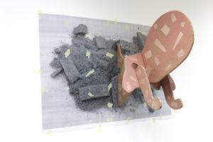Della Mortadella, 2016, Laserdruck auf DIN A4 Papier, Kreppband, Spanplatte, durchsichtiges Klebeband, Ölfarbe, 90x130x80cm