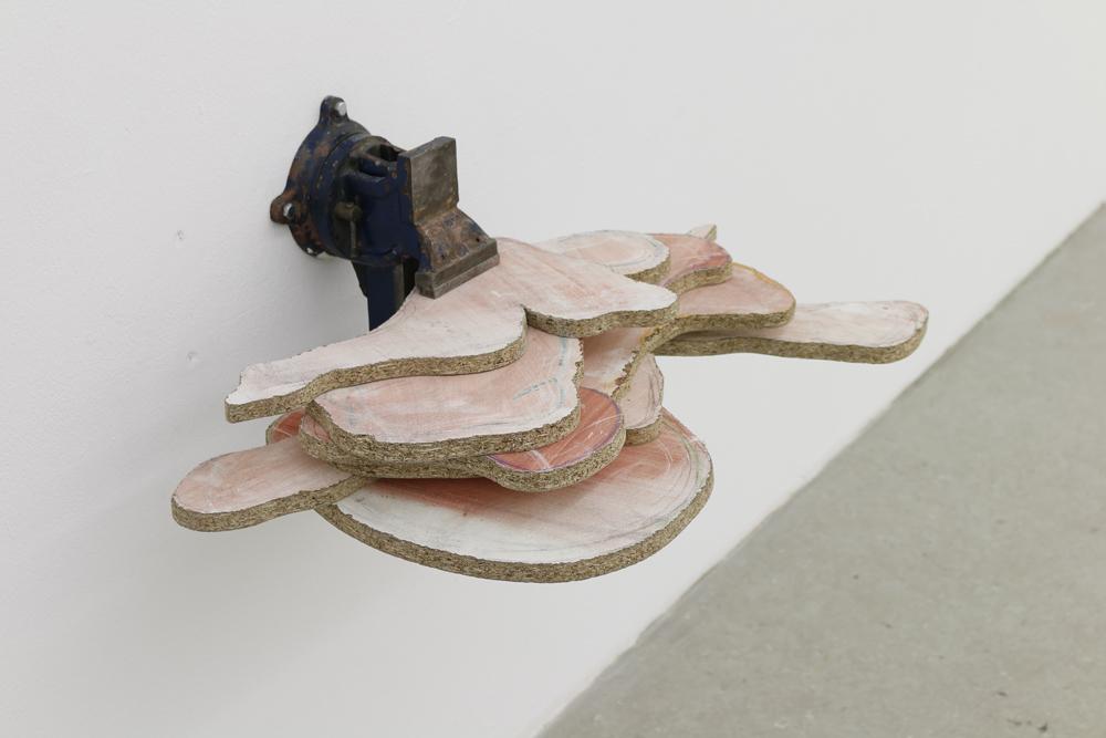 Formfleisch, 2016, Schraubstock, beschichtete Spanplatte, Abtönfarbe, 40x60x45cm