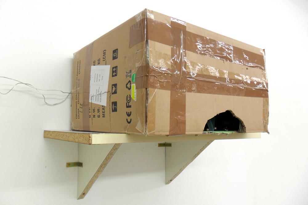 Traum und Kino, 2011, Karton, div. Materialien, Lampen, Sound, Kopfhörer