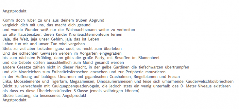 angstprodukt, 2013, Text der Sounddatei