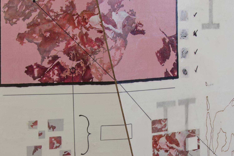 See Annex, 2020, Metallregal, Aquarell auf Gips, Styrodur, Kunststoff, lackierte Metallrohre  + Spanplatte, Digitaldruck, Bleistiftzeichnung, Polyesterschlusslack, 200 x 140 x 70 cm  und 180 x 140 x 40 cm